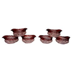 Antique Victorian Age U S Glass Kings Crown Ruby Stained Thumbprint Set of 6 Pointed Berry Bowls.