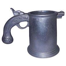 Vintage Flintlock Pistol Mug Stein Mug, RWP Armetale Pewter, Wilton Co, Columbia PA. USA