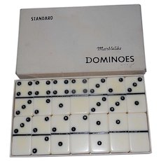 Vintage Puremco Marblelike White Ivory Dominoes (Standard) 616 Made In USA.