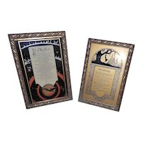 Vintage Emma E Koehler Reverse Painted Poems and Art Deco Scene & C & A Richards Frames from Germany