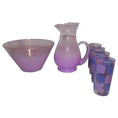 Vintage Mid Century Purple Blendo West Virginia Glass Co Pitcher and Punch Bowl with 4 Glasses