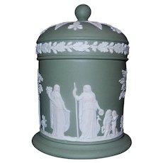 Vintage Wedgwood Olive Green Celadon Olympus Jar with Lid Jasperware England