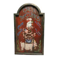 Vintage Hand Painted Feed Store Folk Art Wall Plaque