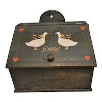 Vintage Folk Art Bread Box with Geese
