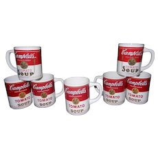 Vintage Set of 7 Campbell's Tomato Soup Mugs or Coffee Cups