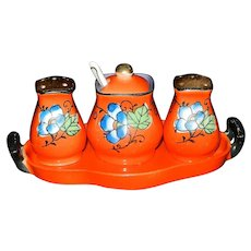 Vintage Hand Painted Chikaramachi Japan Salt and Pepper Condiment Set