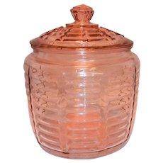 Vintage Pink Depression Glass Beehive Cookie Jar