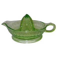 Vintage Uranium Green Depression Glass Juicer Reamer