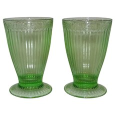 Vintage Green Depression Glass Footed Tumblers or Soda Fountain Glasses