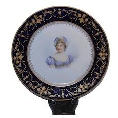 Antique Victorian Sevres 1800's Portrait Chateau Des Tuileries Cabinet Plate