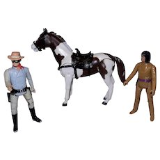 Vintage Legend of the Lone Ranger Figurines- the Lone Ranger, Tonto and Scout.