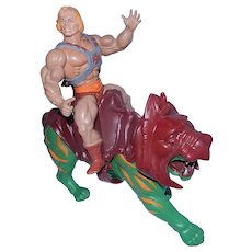 Vintage He-Man and Battle Cat Figurines MOTU (Masters of the Universe) 1981