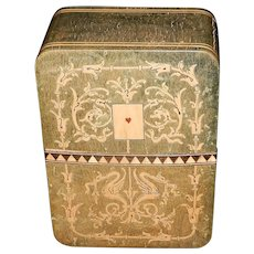Vintage Inlay Wood Card Box from Gargiulo Lace House of Italy 1920's/30's