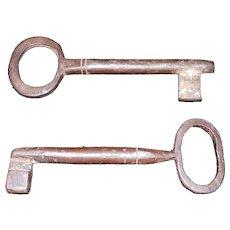 Pair of Antique Iron Jail Key-  circa 1800's