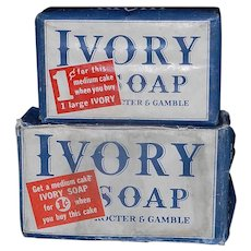 Vintage 1940's Ivory Soap Bar with Promotional Bar