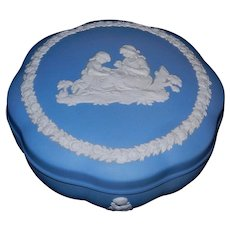 Vintage Wedgwood Blue Jasperware Scalloped Covered Round Trinket Box
