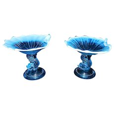 Vintage Pair of Fenton or L. G. Wright Blue Opalescent Dolphin Compote
