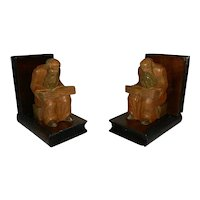 Vintage Hand Carved Wooden Monk Bookends