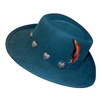 Vintage Ascot 1322 Medium Outback Hunter Green Felt Wool Hat