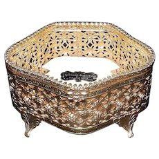 Vintage Unusual 5 sided Stylebuilt 24kt Gold Plated Jewelry Casket