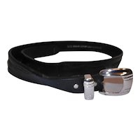 Vintage Black Leather 36 inch Belt with Silver Plated Buckle