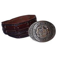 Vintage Award Design Medal Solid Brass Missouri Belt Buckle with Belt