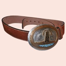 Vintage Hand Made Brass Turquoise Nickle Silver Belt Buckle and Split Cowhide Belt made in USA.