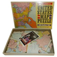 United States Map Puzzle Rand McNally VTG 1965 Selchow Righter No 519