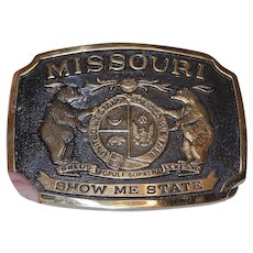 Vintage Solid Brass Missouri Heritage Mint Ltd. Registered Collection Belt Buckle. NOS