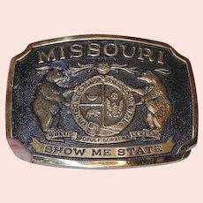 Vintage Solid Brass Missouri Heritage Mint Ltd. Registered Collection Belt Buckle. NOS