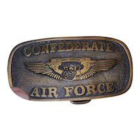 Vintage Confederate Air Force Ghost Squadron Solid Brass Belt Buckle