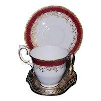 Vintage Crown Staffordshire Porcelain Co. LTD  Demitasse Cup and Saucer