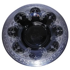 Vintage 1920's Black Glass Art Nouveau Art Deco Console Bowl with Sterling Silver Overlay.