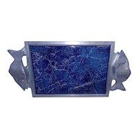 Vintage Large Lamosa Ceramic Tile Trivet with Aluminum Fish Handles