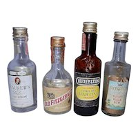 Vintage Miniature Liquor Bottles includes 3 Airline Bottles