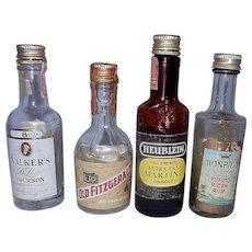 Vintage Miniature Liquor Bottles includes 3 Airline Bottles