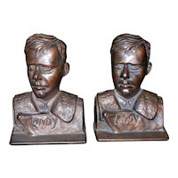 "Vintage Verona Charles ""Lindy"" Lindberg Cast Iron Bookends"
