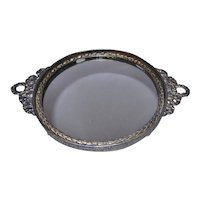 Vintage Ormolu Round Mirror Vanity Tray