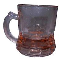 Vintage Pink Handled Depression Glass Mug Style Toothpick Holder or Shot Glass
