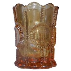 Vintage Columbia Toothpick Holder Amber Flint Glass