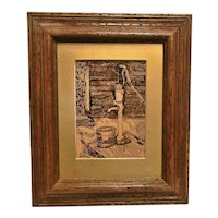 Vintage 1979 Reverse Painted Primitive Scene with Hand Water Pump