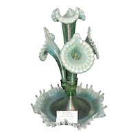 Vintage Ltd Edition Fenton Willow Green Opalescent Epergne Centennial 2000 Signed #700