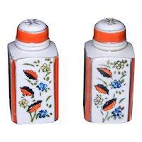 Vintage Japan Square Porcelain Decorated Salt and Pepper Shakers
