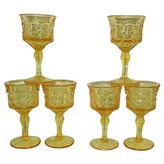 Vintage Indiana Tiara Glass Constellation Yellow Mist Goblet Set