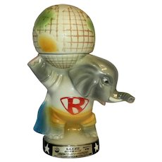 Vintage 1980 Jim Beam Republican Elephant Whiskey Decanter with World on His Shoulders