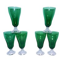 Vintage Set of 6 Mid Century Forest Green Bubble Boopie Anchor Hocking  Iced Tea Goblets