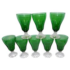 This Vintage set of 8 Mid Century Forest Green Bubble Boopie Anchor Hocking Water Goblets