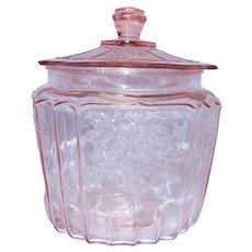 Vintage Original Mayfair Pink Depression Glass Cookie Jar