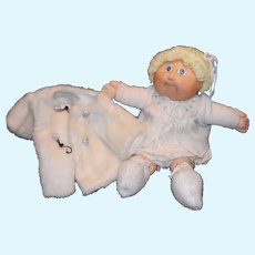 Vintage 1985 Cabbage Patch Kid Doll with Short Blonde Hair and Blue Eyes