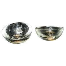 Vintage Pair of Cigarette Ashtrays with Intaglio Dancer